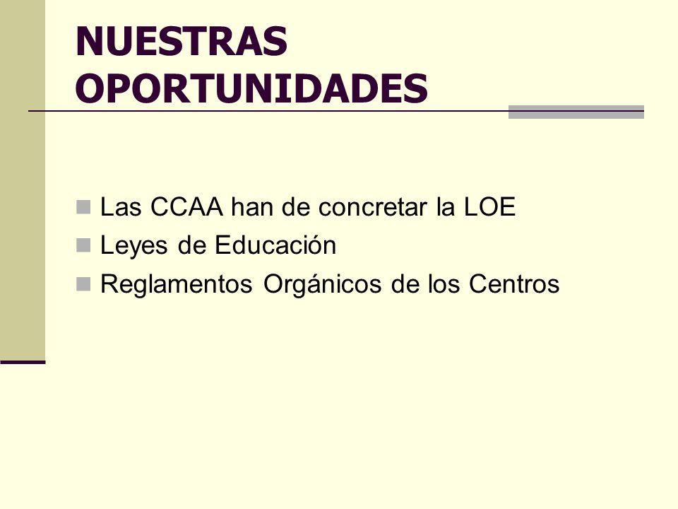 NUESTRAS OPORTUNIDADES Las CCAA han de concretar la LOE Leyes de Educación Reglamentos Orgánicos de los Centros
