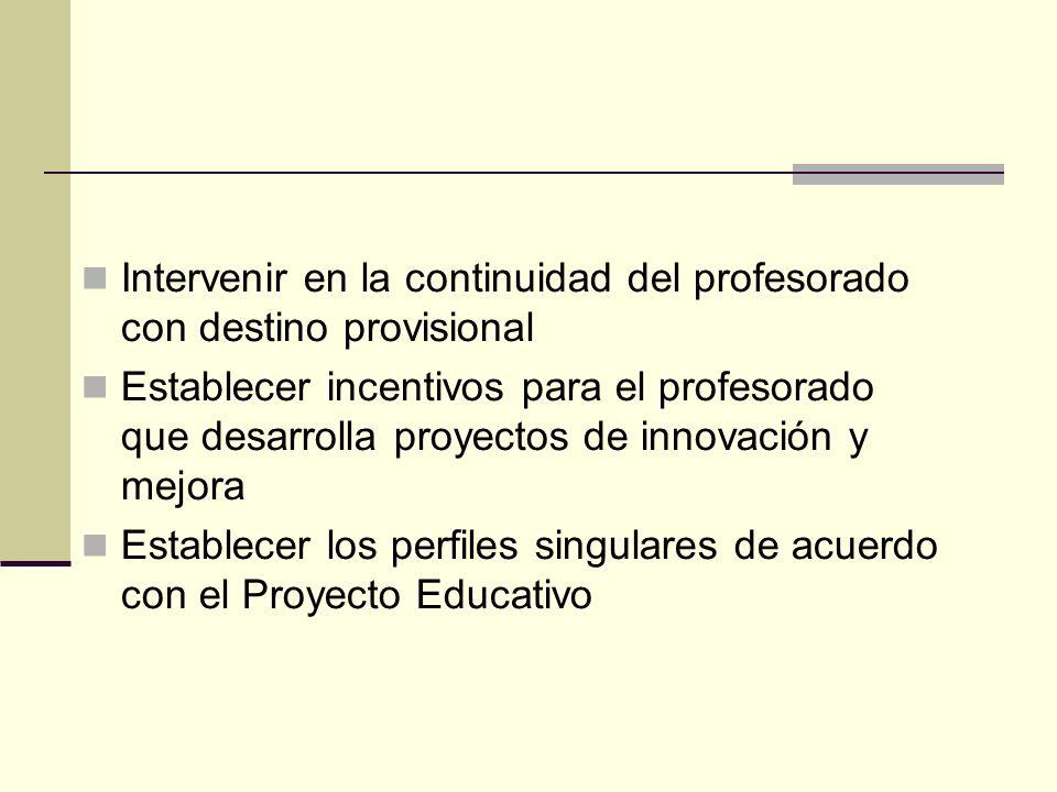Intervenir en la continuidad del profesorado con destino provisional Establecer incentivos para el profesorado que desarrolla proyectos de innovación y mejora Establecer los perfiles singulares de acuerdo con el Proyecto Educativo