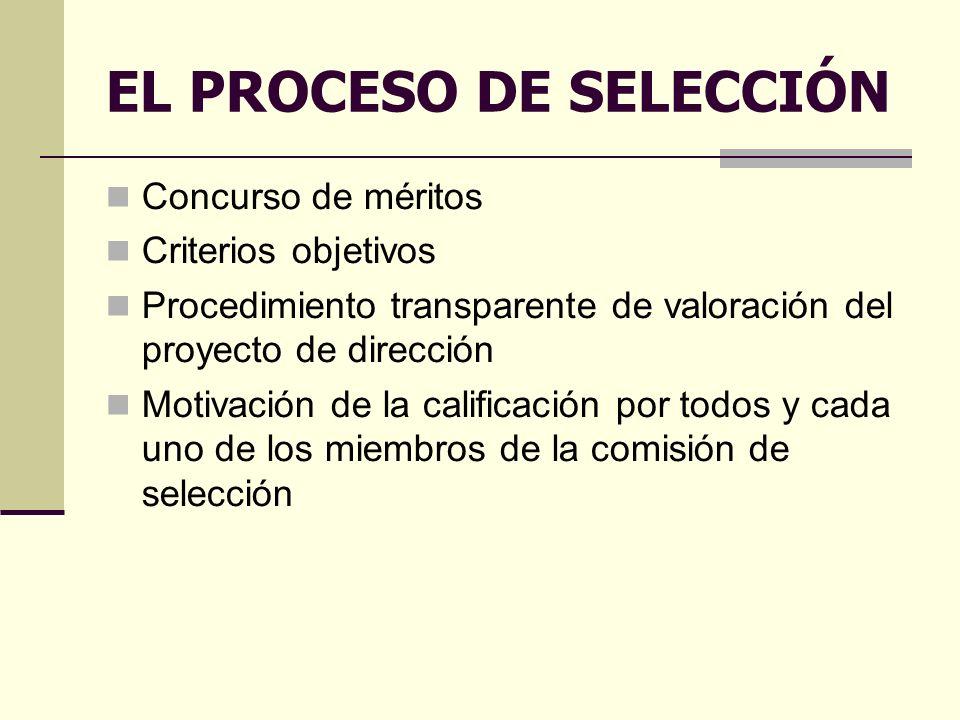EL PROCESO DE SELECCIÓN Concurso de méritos Criterios objetivos Procedimiento transparente de valoración del proyecto de dirección Motivación de la calificación por todos y cada uno de los miembros de la comisión de selección