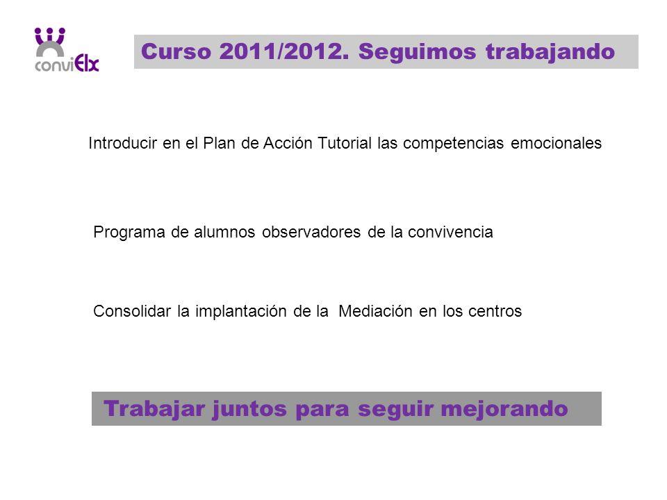 Curso 2011/2012. Seguimos trabajando Introducir en el Plan de Acción Tutorial las competencias emocionales Programa de alumnos observadores de la conv