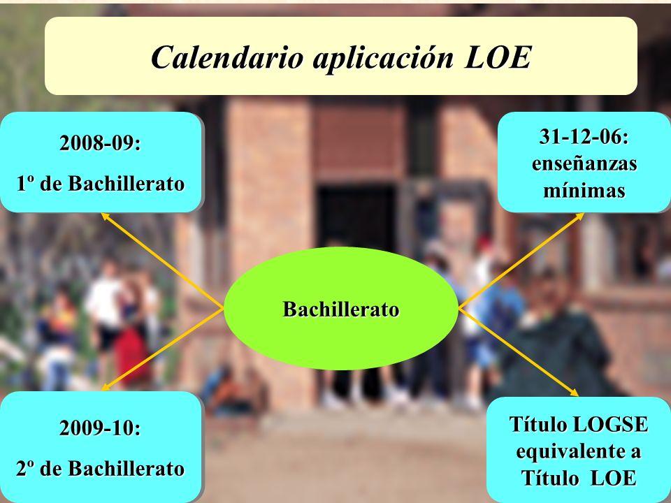 URUNAJP Bachillerato 31-12-06: enseñanzas mínimas 2008-09: 1º de Bachillerato 2008-09: 2009-10: 2º de Bachillerato 2009-10: Título LOGSE equivalente a Título LOE Calendario aplicación LOE
