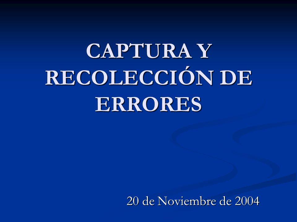 CAPTURA Y RECOLECCIÓN DE ERRORES 20 de Noviembre de 2004