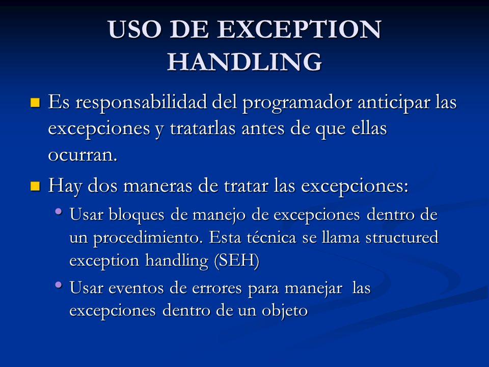 Uso de los bloques de Exception- Handling