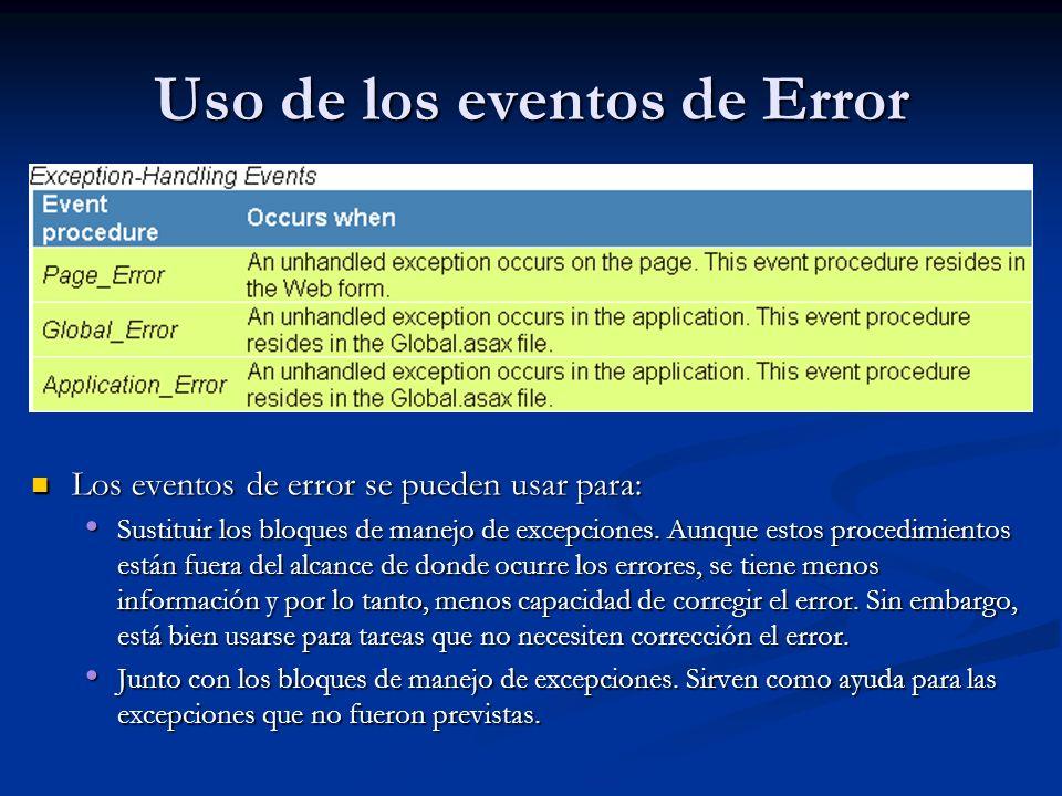 Uso de los eventos de Error Los eventos de error se pueden usar para: Sustituir los bloques de manejo de excepciones. Aunque estos procedimientos está