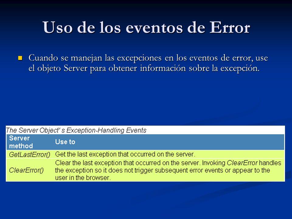 Uso de los eventos de Error Cuando se manejan las excepciones en los eventos de error, use el objeto Server para obtener información sobre la excepció