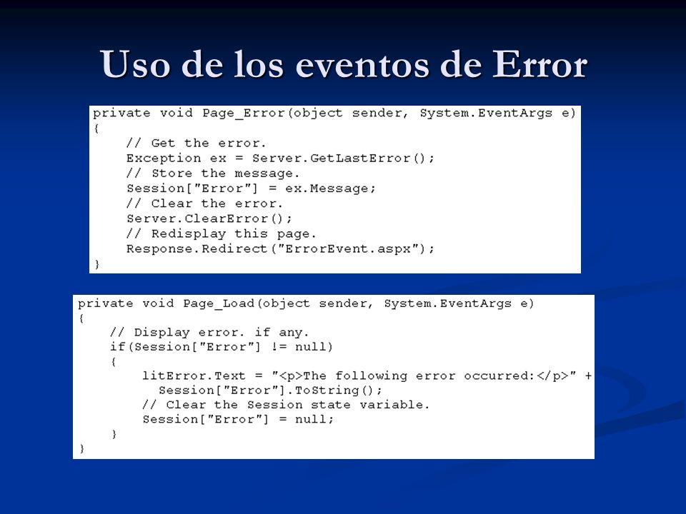 USO DE LAS PÁGINAS DE ERROR Cuando el usuario corre su aplicación, una serie de eventos pueden ocurrir fuera de la misma.