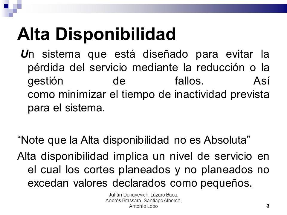 Alta Disponibilidad Un sistema que está diseñado para evitar la pérdida del servicio mediante la reducción o la gestión de fallos. Así como minimizar