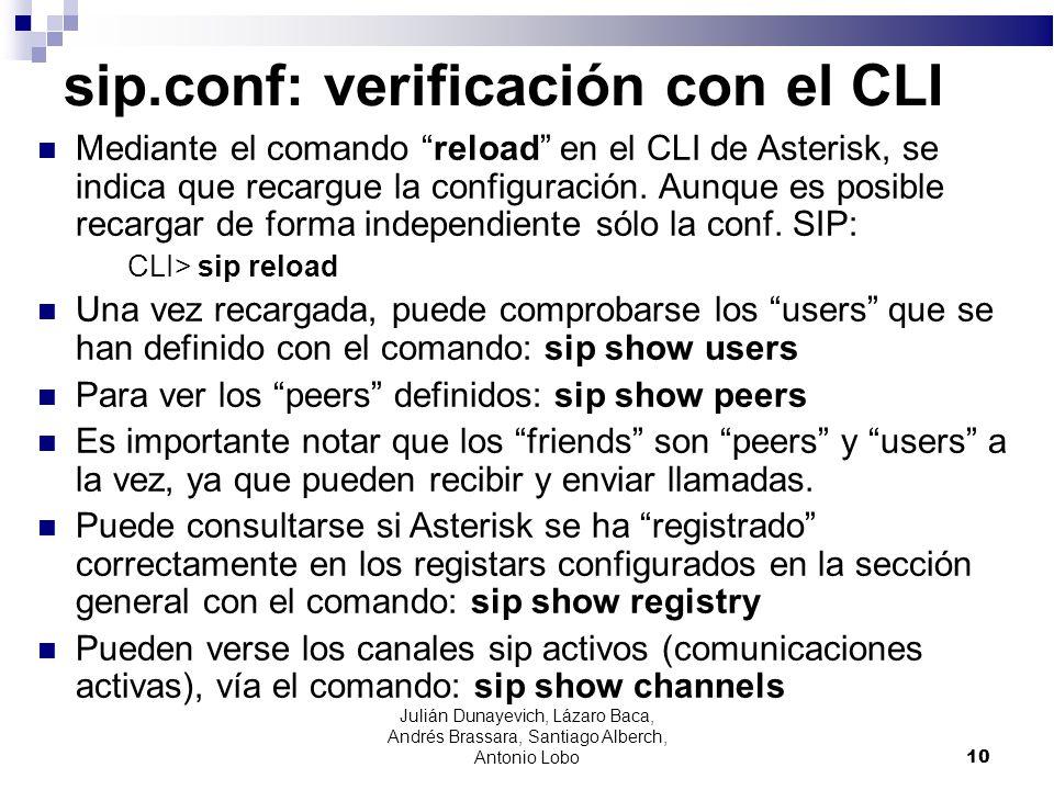 sip.conf: verificación con el CLI Mediante el comando reload en el CLI de Asterisk, se indica que recargue la configuración. Aunque es posible recarga