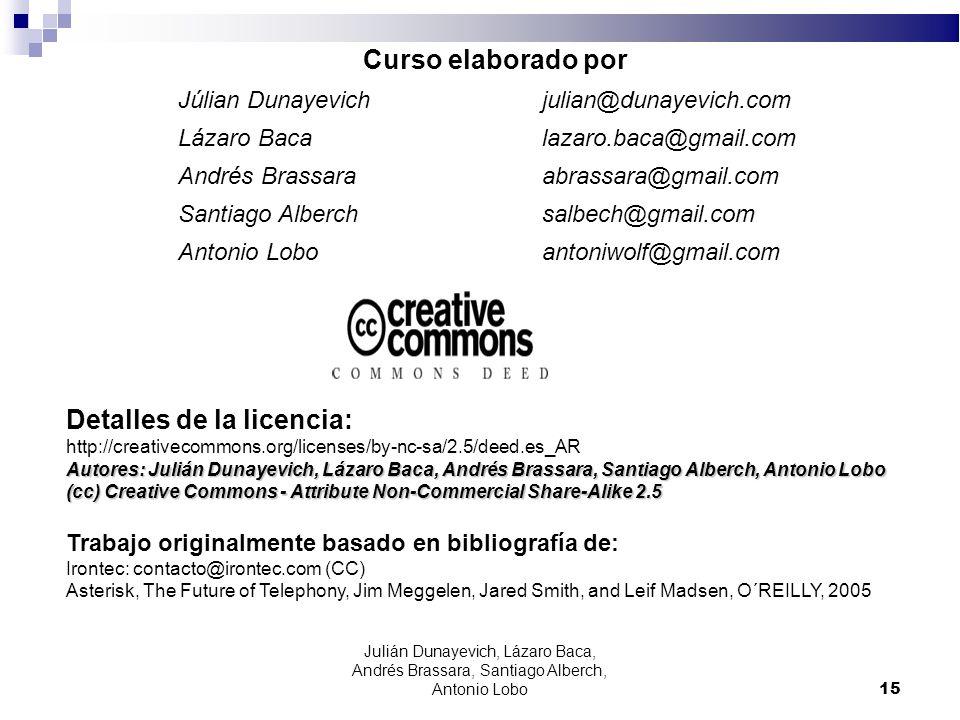 15 Curso elaborado por Júlian Dunayevich julian@dunayevich.com Lázaro Baca lazaro.baca@gmail.com Andrés Brassara abrassara@gmail.com Santiago Alberch