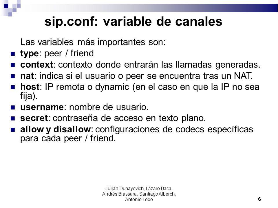 sip.conf: variable de canales Las variables más importantes son: type: peer / friend context: contexto donde entrarán las llamadas generadas. nat: ind