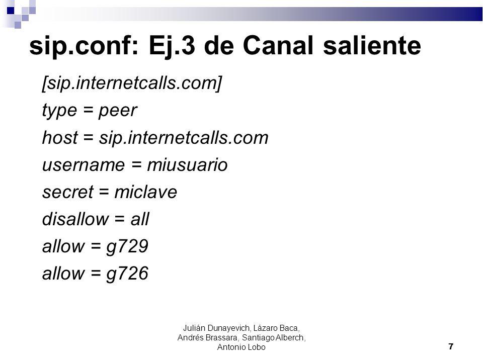 sip.conf: Ej.3 de Canal saliente [sip.internetcalls.com] type = peer host = sip.internetcalls.com username = miusuario secret = miclave disallow = all