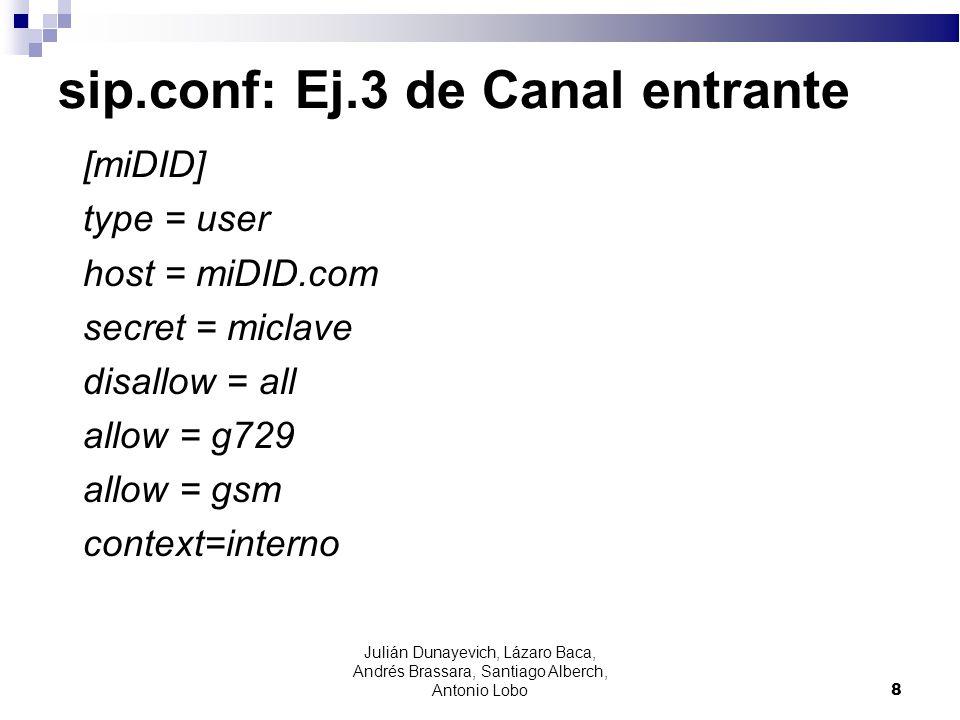 sip.conf: Ej.1 Canal in/out [pepe] type=friend secret=clavepepe context=interno host=dynamic nat=yes 9 Julián Dunayevich, Lázaro Baca, Andrés Brassara, Santiago Alberch, Antonio Lobo