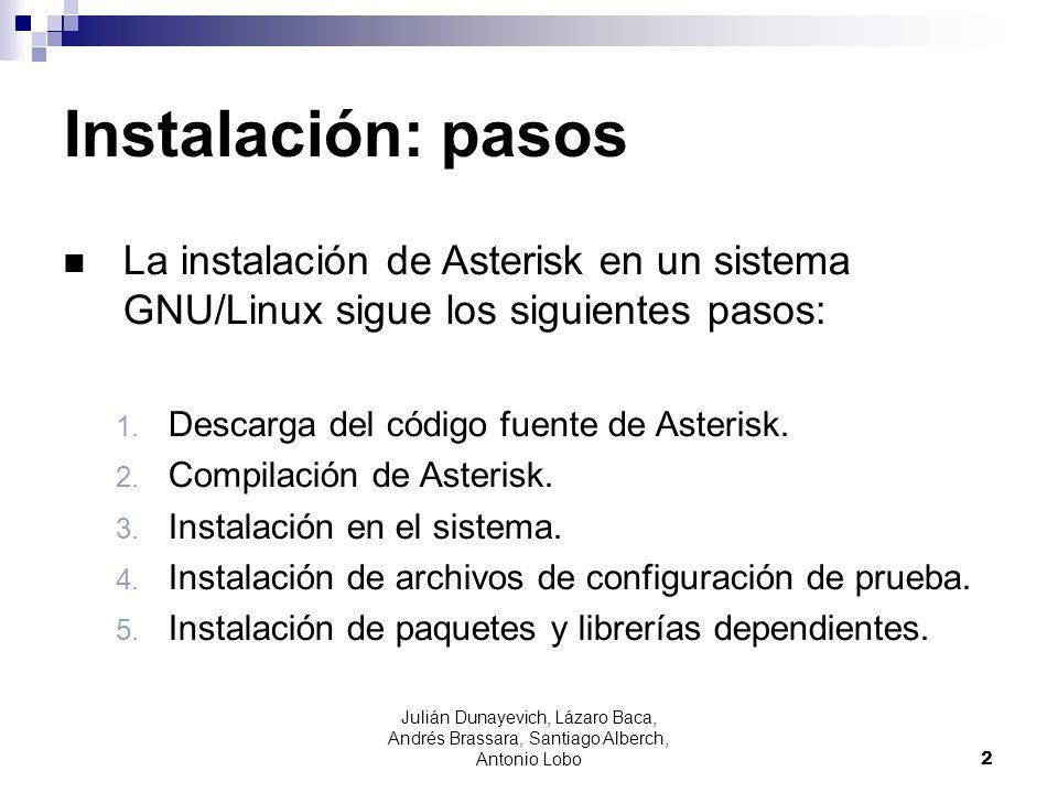 Julián Dunayevich, Lázaro Baca, Andrés Brassara, Santiago Alberch, Antonio Lobo 2 Instalación: pasos La instalación de Asterisk en un sistema GNU/Linu