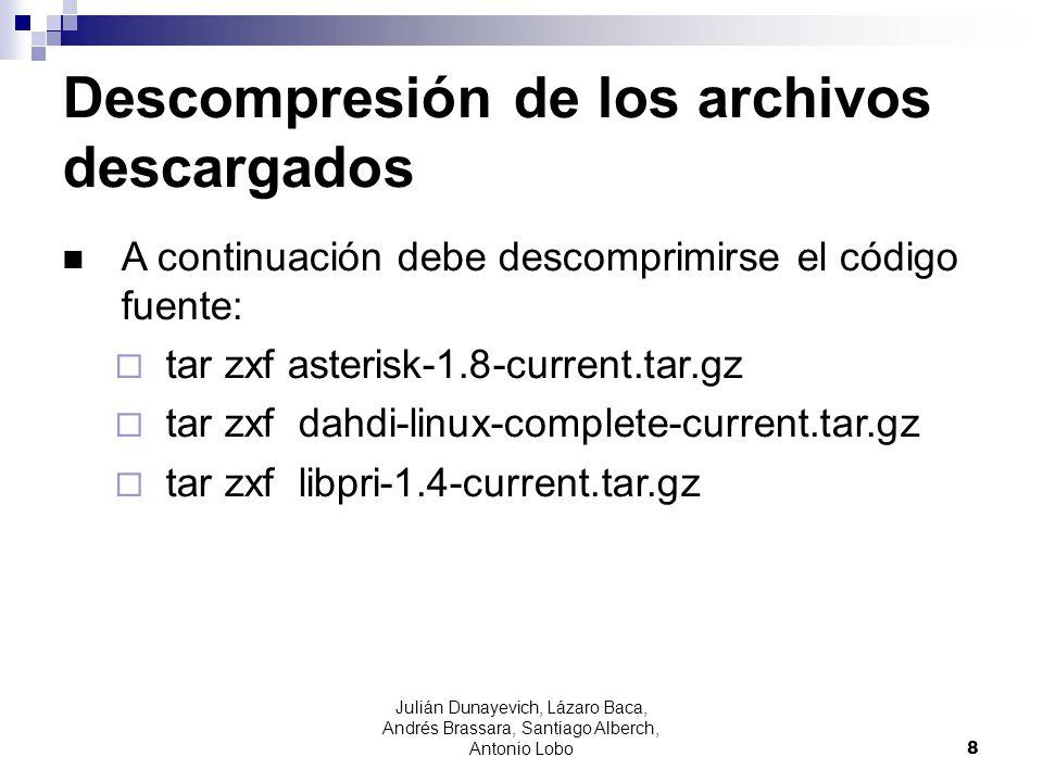 Julián Dunayevich, Lázaro Baca, Andrés Brassara, Santiago Alberch, Antonio Lobo 9 Compilación e instalación cd asterisk-1.8.7.0./configure make menuselect make make install make samples make config make install-logrotate cd libpri-1.4.12 make make install cd dahdi-linux-complete- 2.5.0.1+2.5.0.1 make make install make config