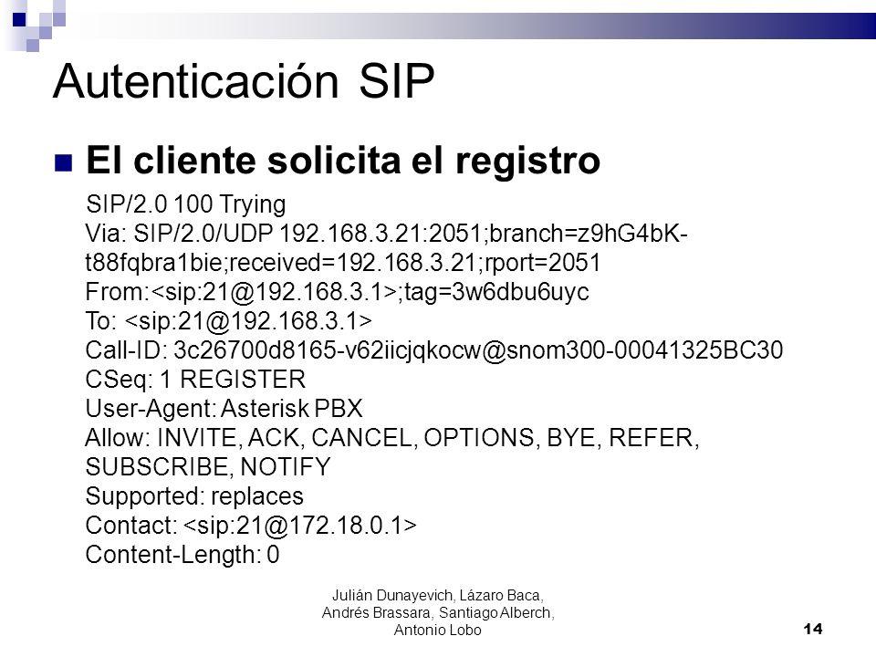 Autenticación SIP El cliente solicita el registro SIP/2.0 100 Trying Via: SIP/2.0/UDP 192.168.3.21:2051;branch=z9hG4bK- t88fqbra1bie;received=192.168.