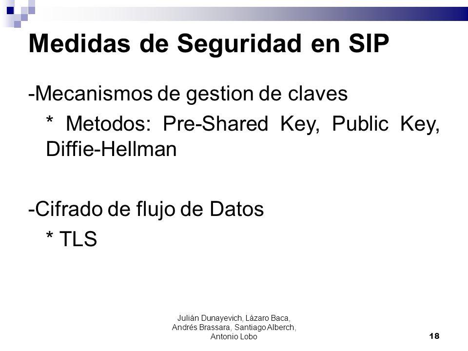 Medidas de Seguridad en SIP -Mecanismos de gestion de claves * Metodos: Pre-Shared Key, Public Key, Diffie-Hellman -Cifrado de flujo de Datos * TLS 18