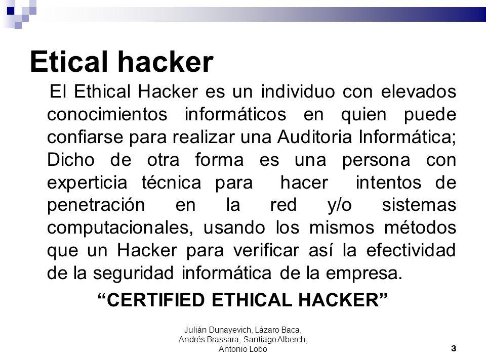 Etical hacker El Ethical Hacker es un individuo con elevados conocimientos informáticos en quien puede confiarse para realizar una Auditoria Informáti