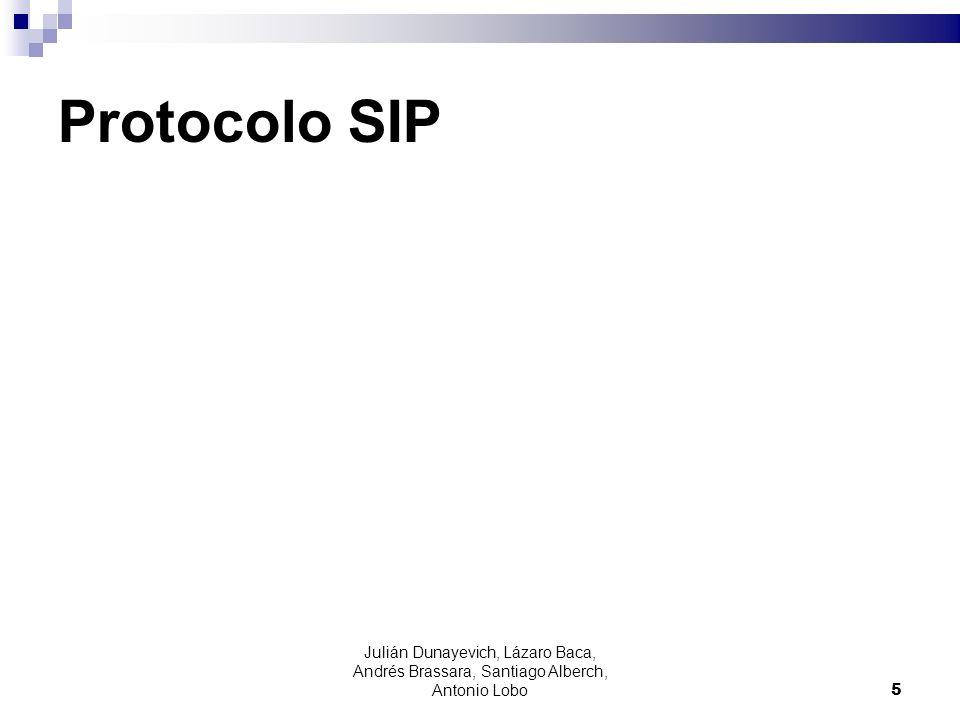 Autenticación SIP El cliente envía la respuesta al desafío generado por el servidor REGISTER sip:192.168.3.1 SIP/2.0 Via: SIP/2.0/UDP 192.168.3.21:2051;branch=z9hG4bK- f1jw8puwjx5t;rport From: ;tag=fegspc9i4c To: Call-ID: 3c26700d7ef4-x4kkws5ejsgn@snom300-00041325BC30 CSeq: 2 REGISTER Max-Forwards: 70 User-Agent: snom300/6.2.3 Supported: gruu Allow-Events: dialog CONTINUA 16 Julián Dunayevich, Lázaro Baca, Andrés Brassara, Santiago Alberch, Antonio Lobo