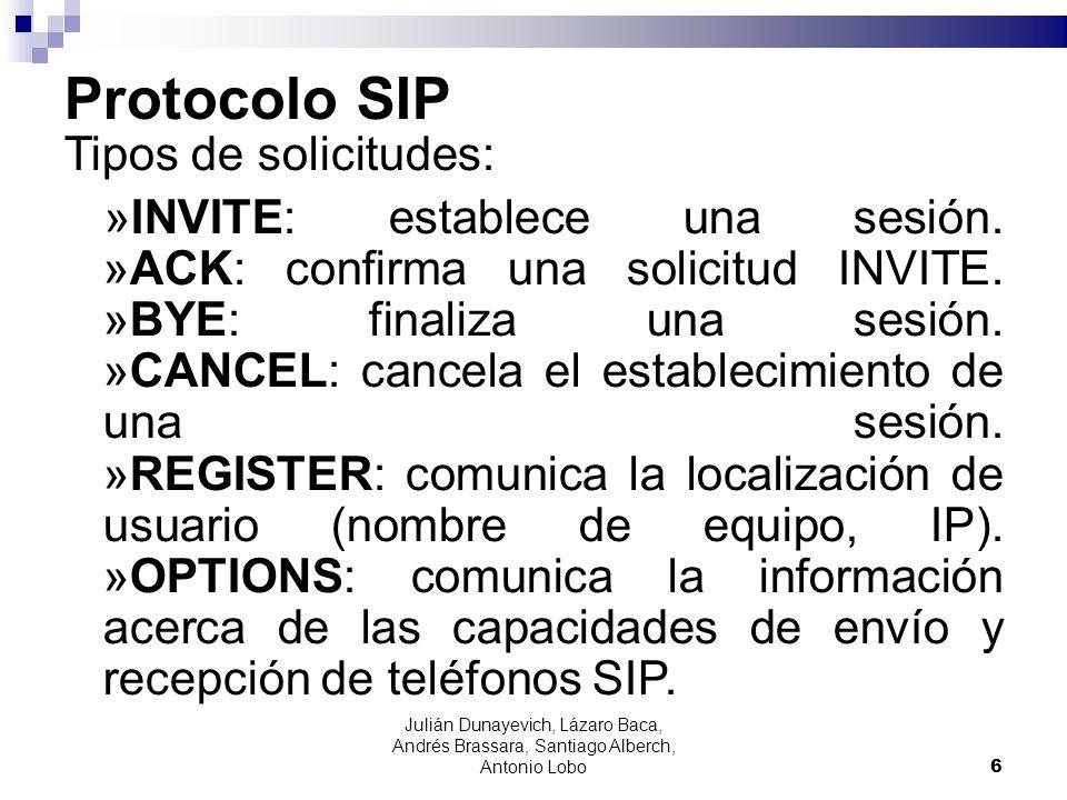 Protocolo SIP Tipos de solicitudes: »INVITE: establece una sesión. »ACK: confirma una solicitud INVITE. »BYE: finaliza una sesión. »CANCEL: cancela el