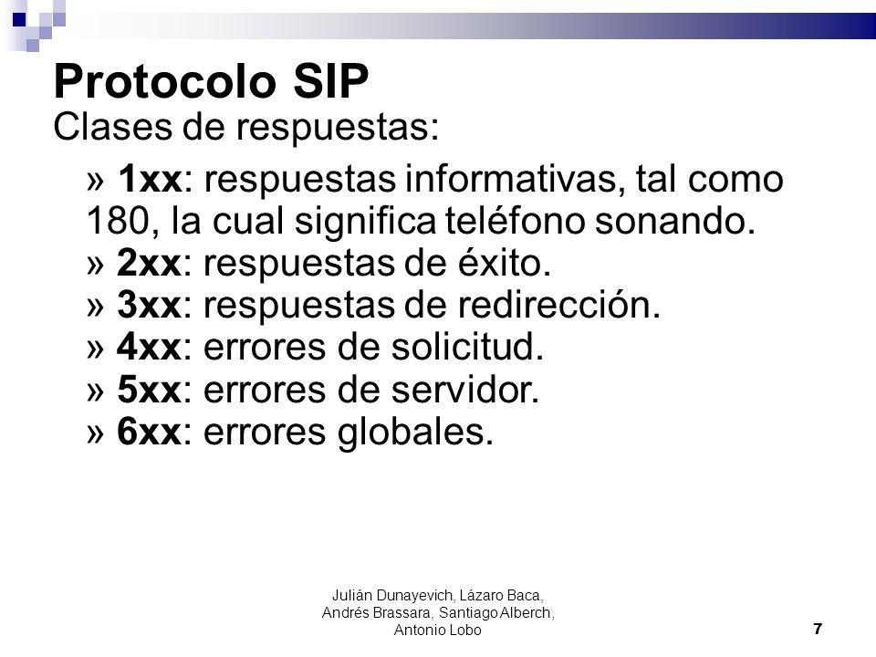 Protocolo SIP Clases de respuestas: » 1xx: respuestas informativas, tal como 180, la cual significa teléfono sonando. » 2xx: respuestas de éxito. » 3x