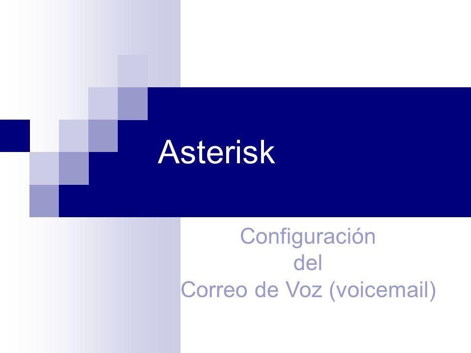 Voicemail Una de las mas populares características de cualquier sistema moderno de telefonía es el correo de voz, Asterisk cuenta con un flexible sistema de correo de voz, algunas de sus características son: Numero ilimitado de buzones con protección de password y con carpetas para organizar los voicemails.