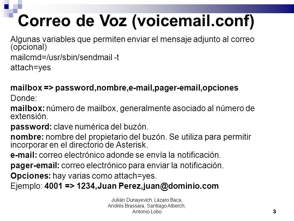 Correo de Voz (voicemail.conf) Algunas variables que permiten enviar el mensaje adjunto al correo (opcional) mailcmd=/usr/sbin/sendmail -t attach=yes