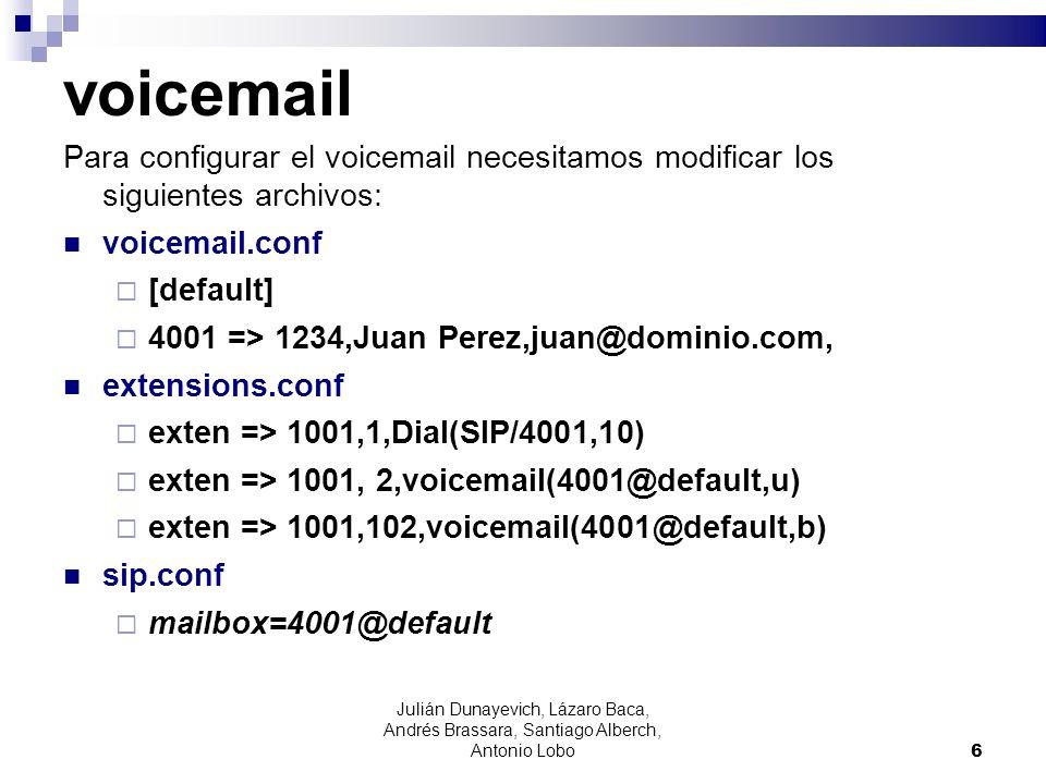 voicemail Para configurar el voicemail necesitamos modificar los siguientes archivos: voicemail.conf [default] 4001 => 1234,Juan Perez,juan@dominio.co