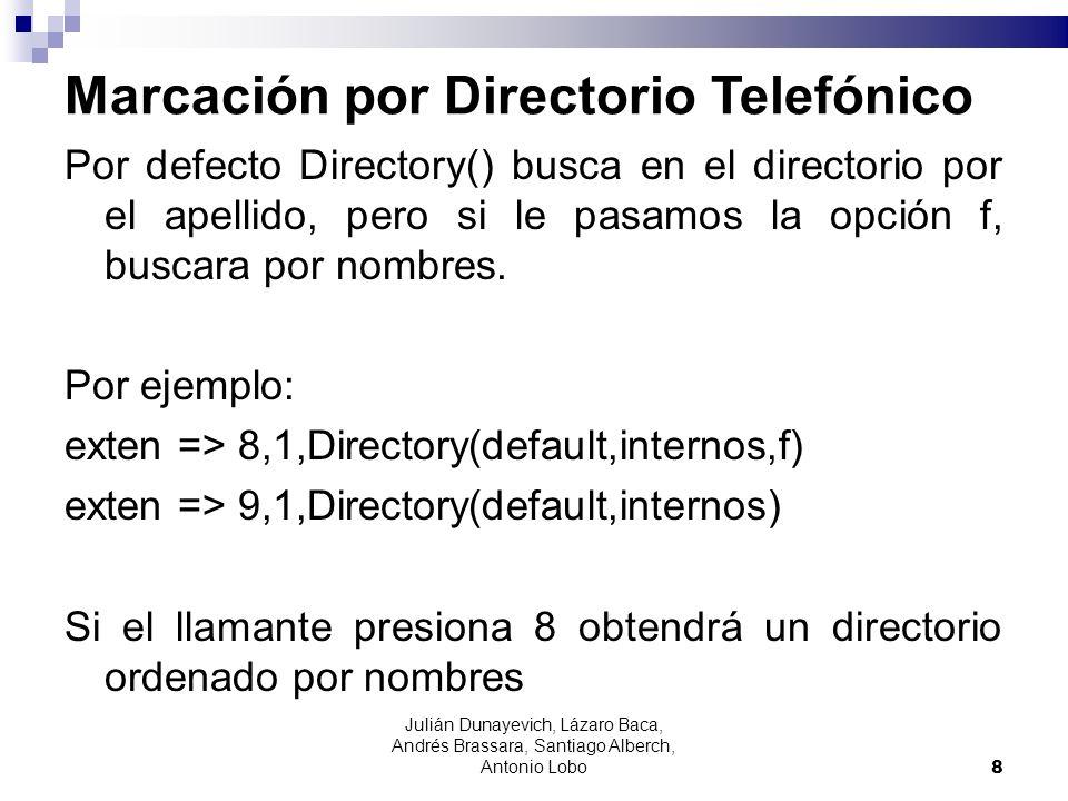 Marcación por Directorio Telefónico Por defecto Directory() busca en el directorio por el apellido, pero si le pasamos la opción f, buscara por nombre
