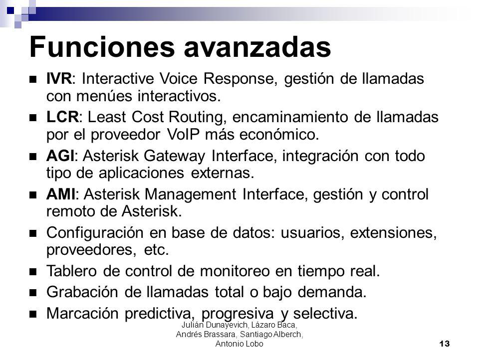Julián Dunayevich, Lázaro Baca, Andrés Brassara, Santiago Alberch, Antonio Lobo 13 Funciones avanzadas IVR: Interactive Voice Response, gestión de lla