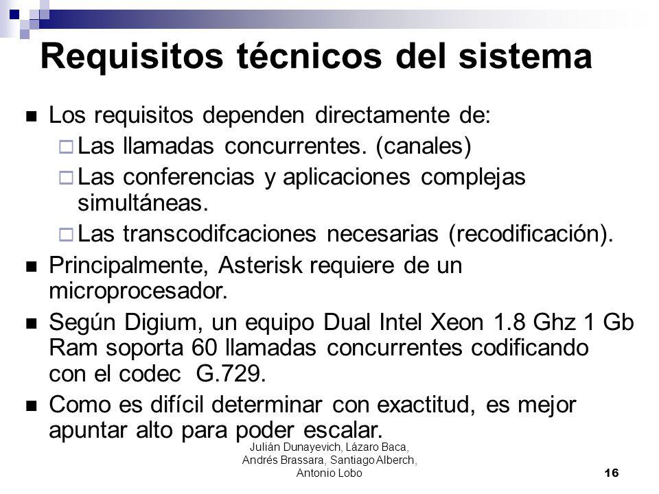 Julián Dunayevich, Lázaro Baca, Andrés Brassara, Santiago Alberch, Antonio Lobo 16 Requisitos técnicos del sistema Los requisitos dependen directament