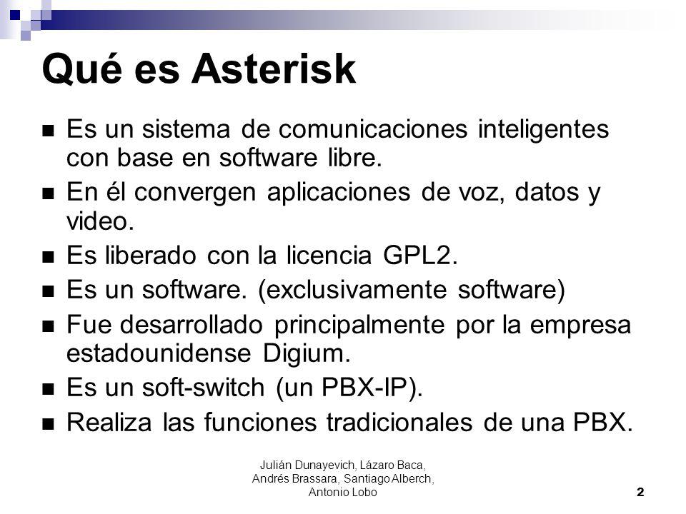 Julián Dunayevich, Lázaro Baca, Andrés Brassara, Santiago Alberch, Antonio Lobo 2 Qué es Asterisk Es un sistema de comunicaciones inteligentes con bas