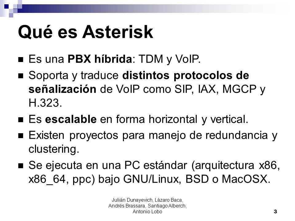 Julián Dunayevich, Lázaro Baca, Andrés Brassara, Santiago Alberch, Antonio Lobo 3 Qué es Asterisk Es una PBX híbrida: TDM y VoIP. Soporta y traduce di
