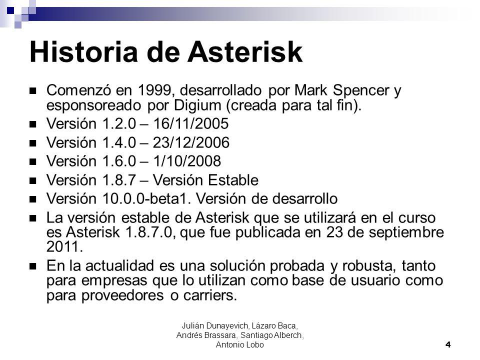 Julián Dunayevich, Lázaro Baca, Andrés Brassara, Santiago Alberch, Antonio Lobo 5 Licencia La empresa Digium, fundada por Mark Spencer, administra y mantiene el código fuente de Asterisk, y lo ofrece bajo dos licencias: GPL2 y licencia comercial.
