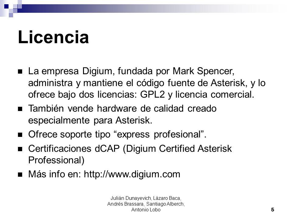 Julián Dunayevich, Lázaro Baca, Andrés Brassara, Santiago Alberch, Antonio Lobo 5 Licencia La empresa Digium, fundada por Mark Spencer, administra y m