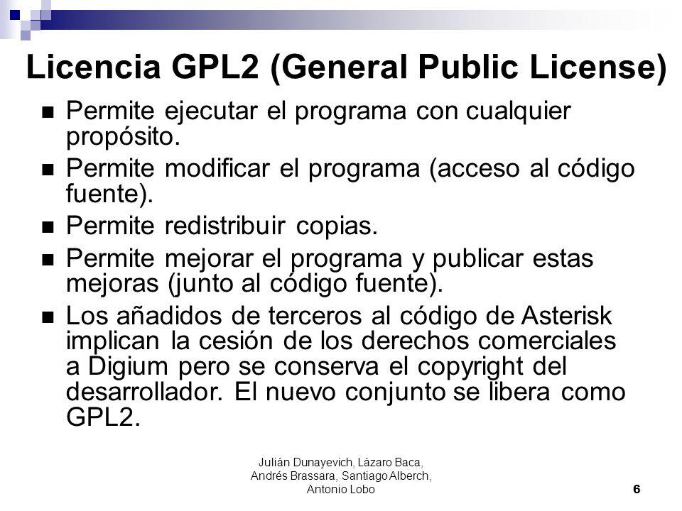 Julián Dunayevich, Lázaro Baca, Andrés Brassara, Santiago Alberch, Antonio Lobo 6 Licencia GPL2 (General Public License) Permite ejecutar el programa