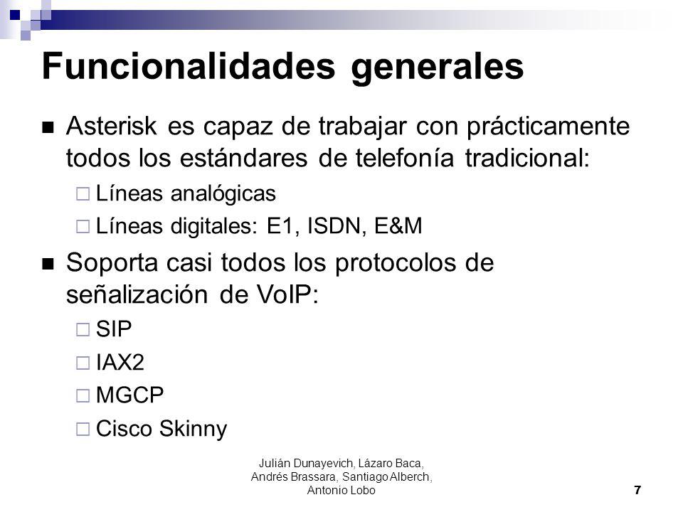 Julián Dunayevich, Lázaro Baca, Andrés Brassara, Santiago Alberch, Antonio Lobo 7 Funcionalidades generales Asterisk es capaz de trabajar con práctica
