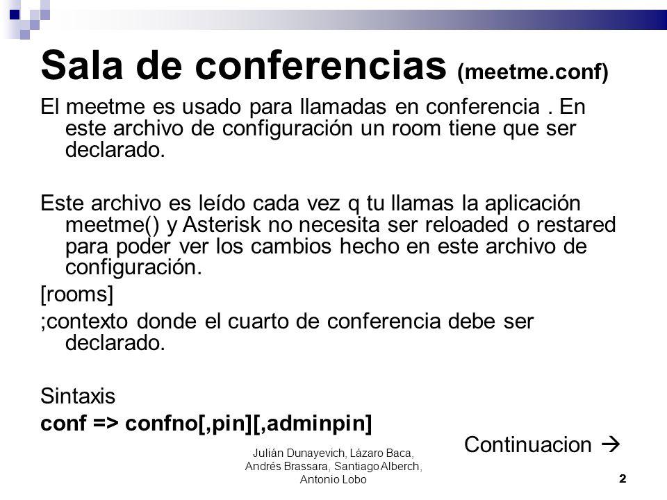 Sala de conferencias (meetme.conf) El meetme es usado para llamadas en conferencia. En este archivo de configuración un room tiene que ser declarado.
