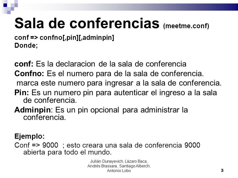 Sala de conferencias (meetme.conf) conf => confno[,pin][,adminpin] Donde; conf: Es la declaracion de la sala de conferencia Confno: Es el numero para