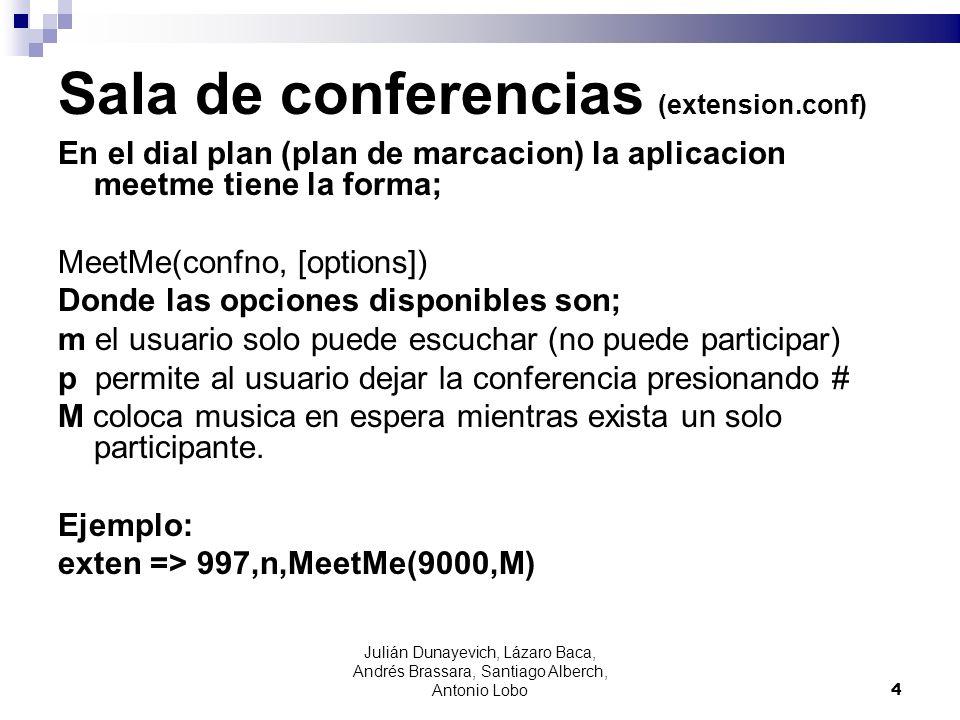 Sala de conferencias (extension.conf) En el dial plan (plan de marcacion) la aplicacion meetme tiene la forma; MeetMe(confno, [options]) Donde las opc