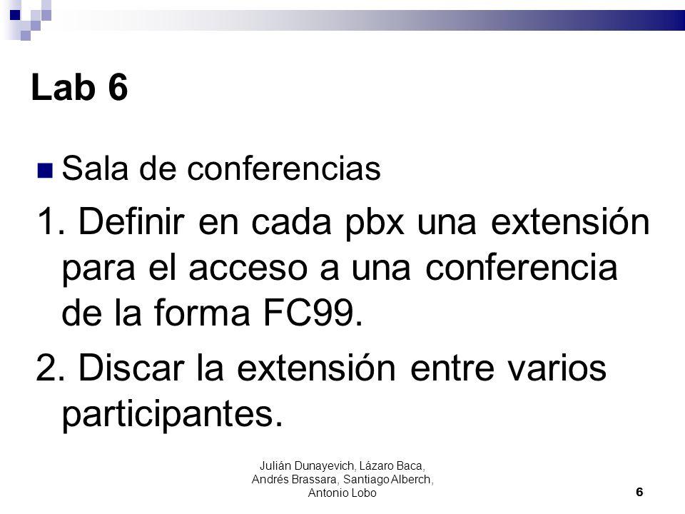 Lab 6 Sala de conferencias 1. Definir en cada pbx una extensión para el acceso a una conferencia de la forma FC99. 2. Discar la extensión entre varios