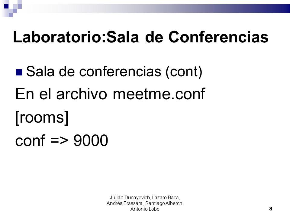 Laboratorio:Sala de Conferencias Sala de conferencias (cont) En el archivo meetme.conf [rooms] conf => 9000 8 Julián Dunayevich, Lázaro Baca, Andrés B