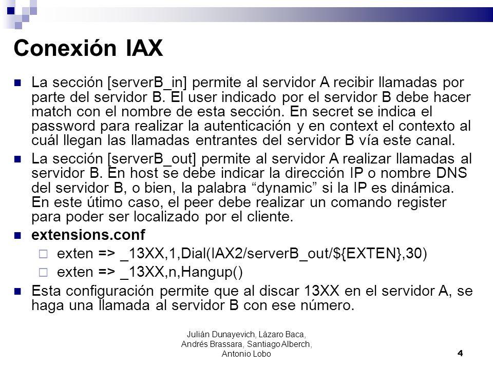 Conexión IAX La sección [serverB_in] permite al servidor A recibir llamadas por parte del servidor B. El user indicado por el servidor B debe hacer ma