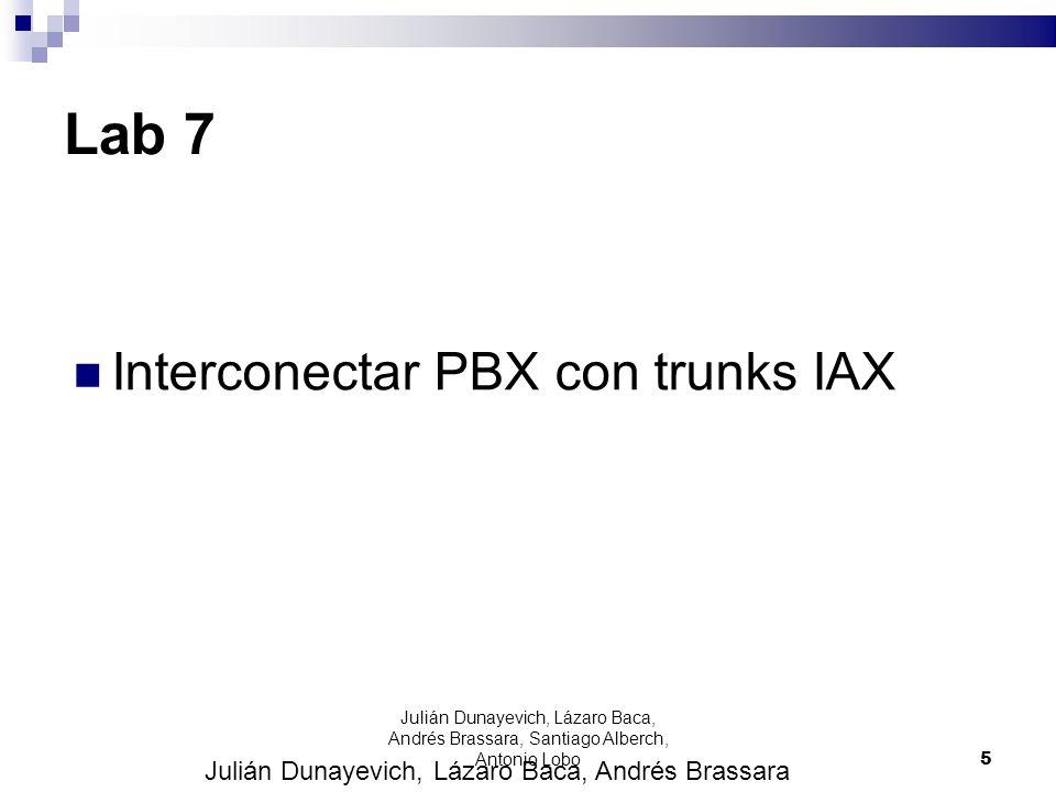 Lab 7 Interconectar PBX con trunks IAX Julián Dunayevich, Lázaro Baca, Andrés Brassara 5 Julián Dunayevich, Lázaro Baca, Andrés Brassara, Santiago Alb
