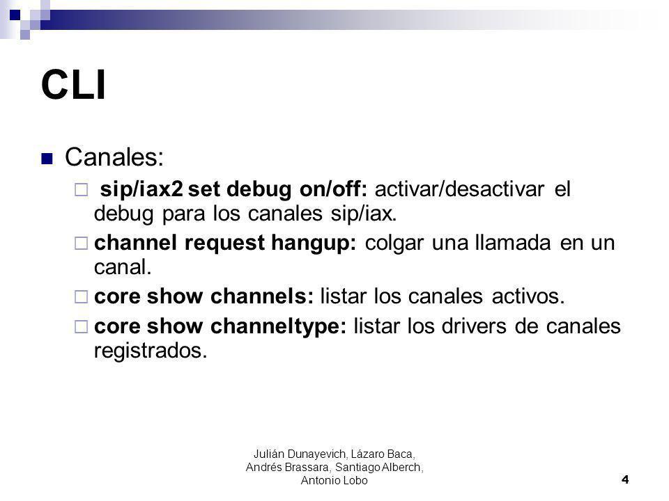 CLI Canales: sip/iax2 set debug on/off: activar/desactivar el debug para los canales sip/iax. channel request hangup: colgar una llamada en un canal.