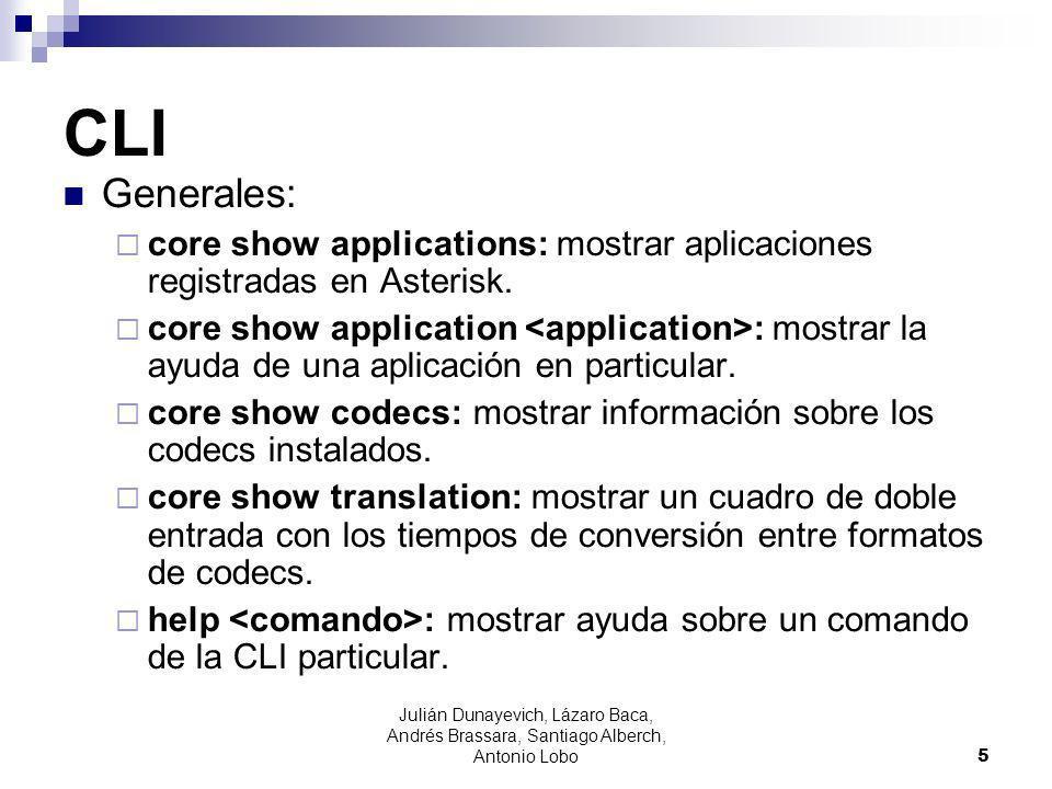 CLI Generales: core show applications: mostrar aplicaciones registradas en Asterisk. core show application : mostrar la ayuda de una aplicación en par