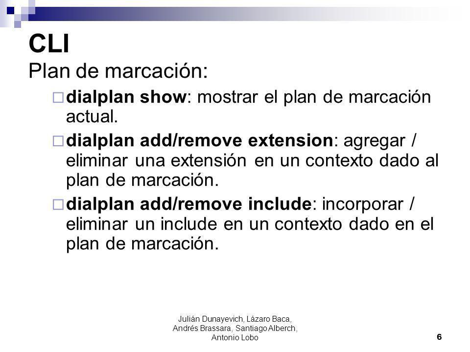 CLI Plan de marcación: dialplan show: mostrar el plan de marcación actual. dialplan add/remove extension: agregar / eliminar una extensión en un conte
