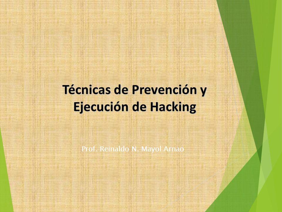 Técnicas de Prevención y Ejecución de Hacking Prof. Reinaldo N. Mayol Arnao