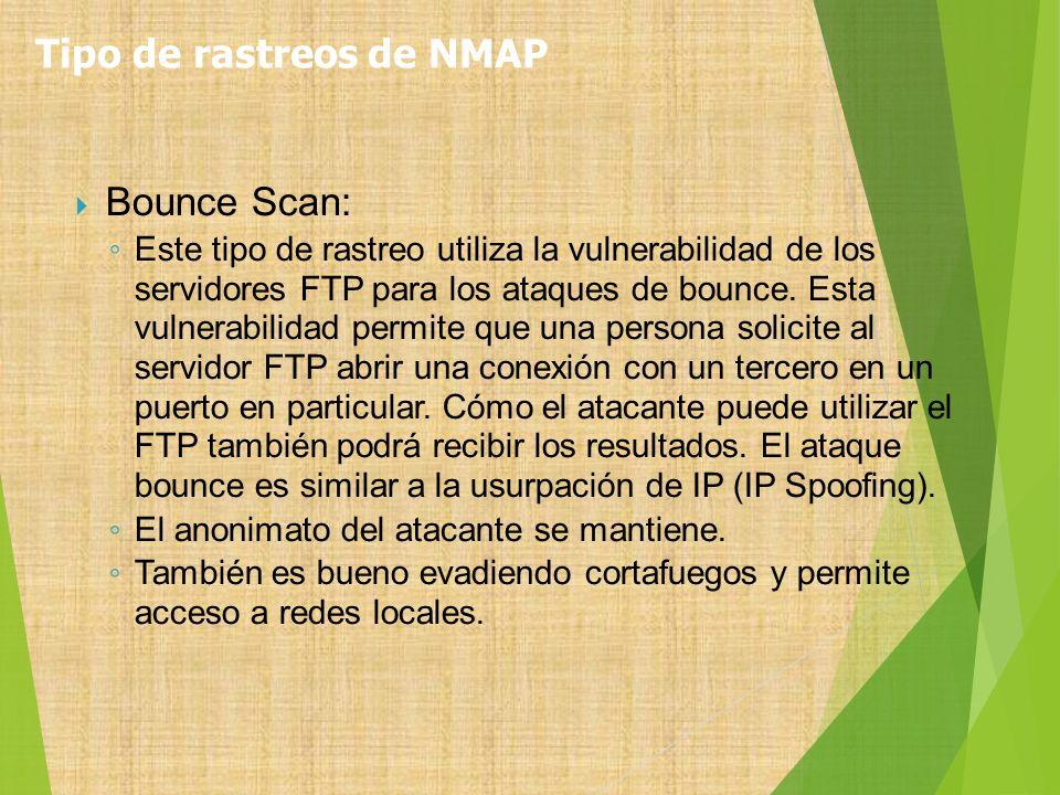 Bounce Scan: Este tipo de rastreo utiliza la vulnerabilidad de los servidores FTP para los ataques de bounce. Esta vulnerabilidad permite que una pers