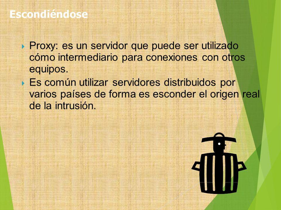 Proxy: es un servidor que puede ser utilizado cómo intermediario para conexiones con otros equipos. Es común utilizar servidores distribuidos por vari