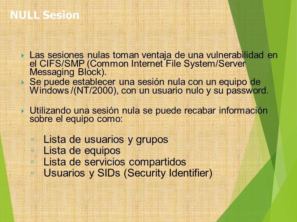 Las sesiones nulas toman ventaja de una vulnerabilidad en el CIFS/SMP (Common Internet File System/Server Messaging Block). Se puede establecer una se
